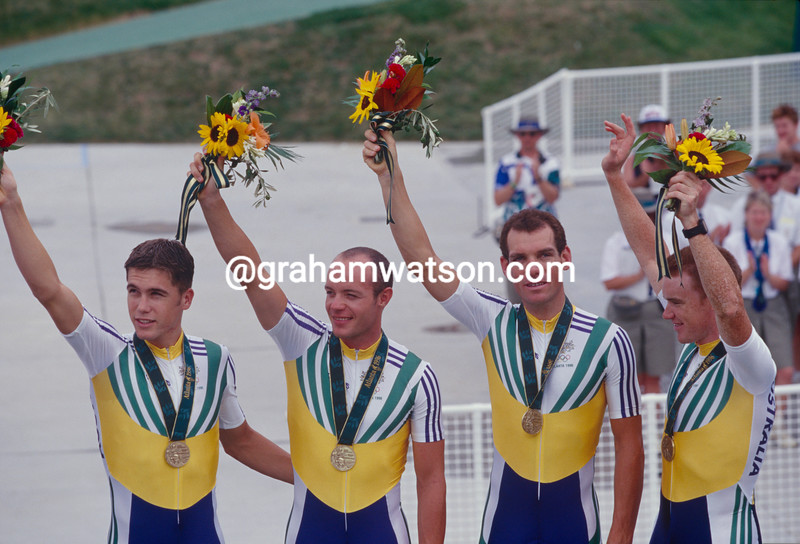 Bradley McGee with Dean Woods and Stuart O'Grady for the Australia team pursuit in the 1996 Olynpic Games