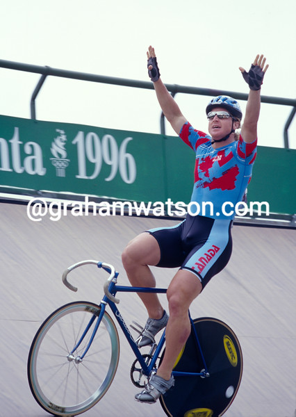 Curt Harnett wins the bronze sprint medal in the 1996 Olympic Games
