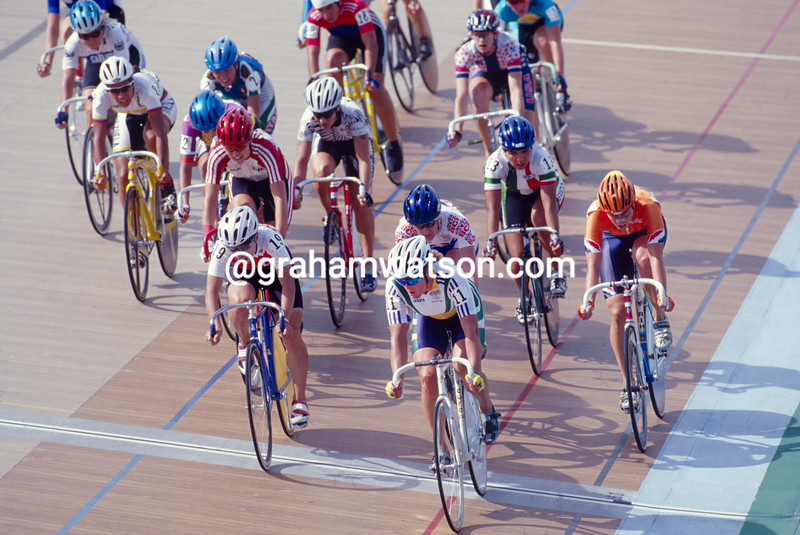 Lucy Tyler-Sharman in the points race in the 1996 Olympic Games