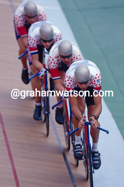 The USA in the team pursuit in the 1996 Olympic Games