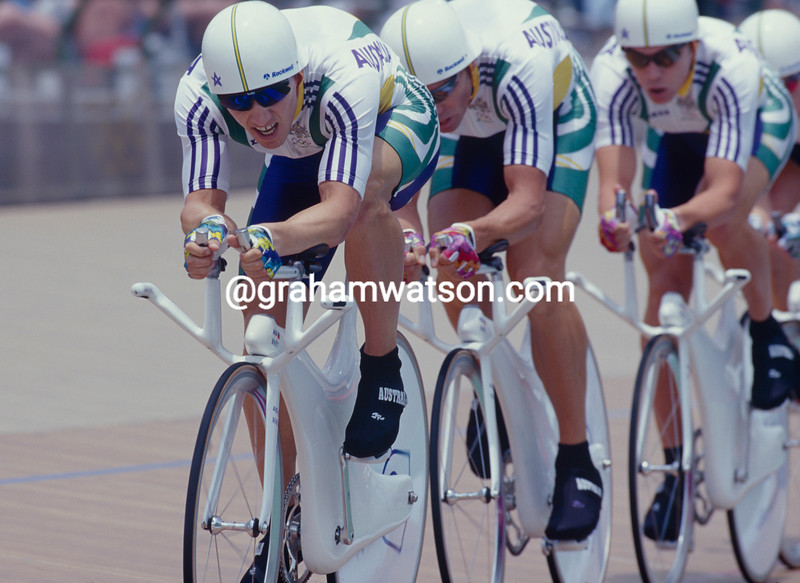 Brett Aitken leads the Australian team pursuit in the 1996 Olympic Games