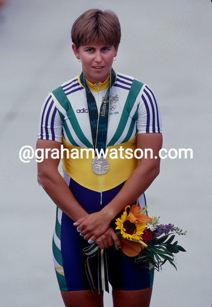 Michelle Ferris wins the silver sprint medal in the 1996 Olympic Games
