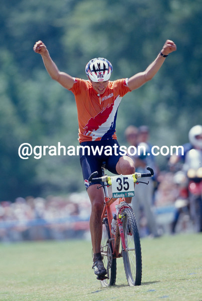 Bart Brentjens winning the MTB Gold medal in the 1996 Olympic Games