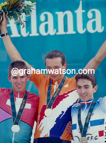 Bart Brentjens with Thomas Frischknecht and Miguel Martinez after winning the MTB Gold medal in the 1996 Olympic Games