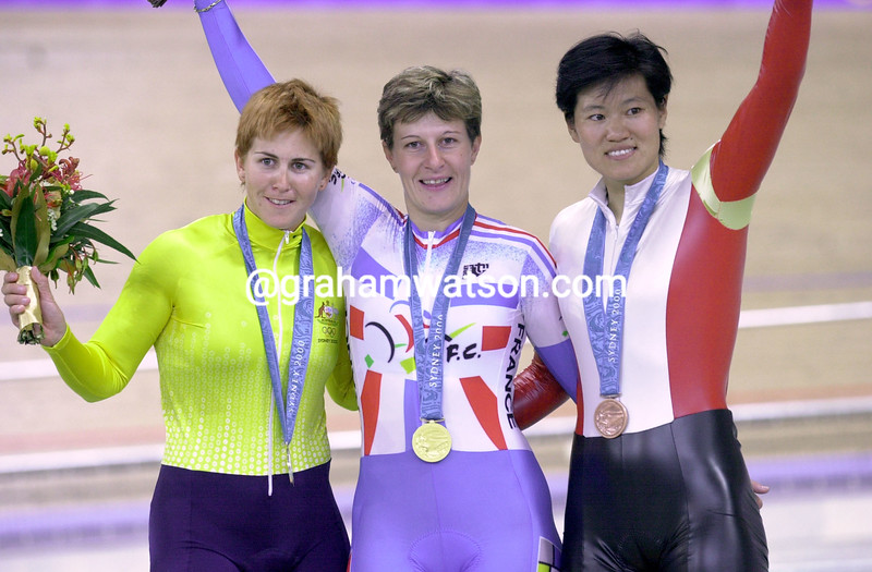 Felicia Ballanger wins the Gold medal at the 2000 Olympic Games 500 TT Michelle Ferris and Jiang Cuihua on the podium
