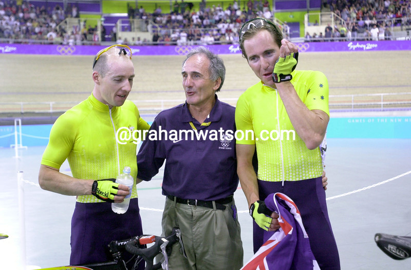 Brett Aitken and Scott McCrory with Charlie Walsh after winning the Madison Gold medal in the 2000 Olympic Games