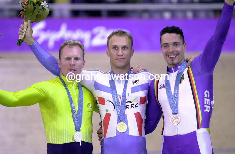 Florian Rousseau wins the Gold medal for the Kierin in the 2000 Olympic Games from Gary Neiwand and Jens Fiedler