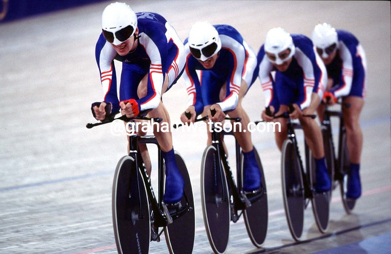 Bradley Wiggins leads Great Britain in the team pursuit at the 2000 Olympic Games