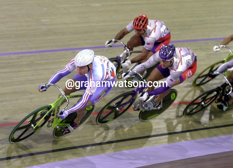 Florian Rousseau races to the Gold medal for the Kierin in the 2000 Olympic Games