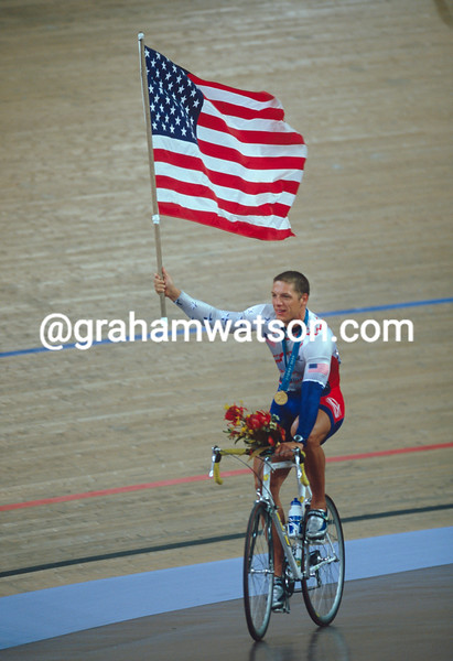 Marty Nothstein celebrates winning the mens sprint in the 2000 Olympic Games