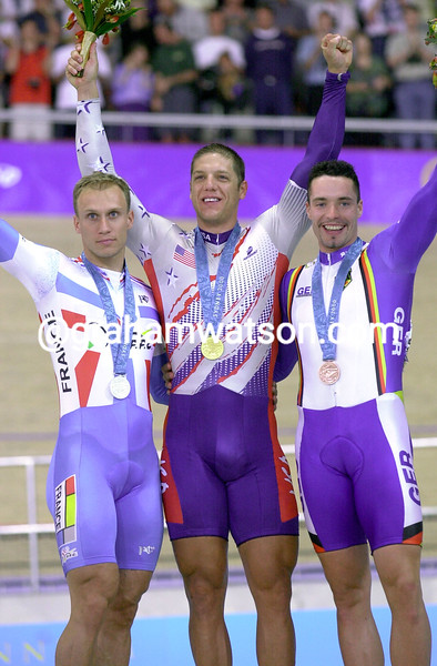 Marty Nothstein wins Gold in the mens sprint in the 2000 Olympic Games from Jens Fiedler and Florian Rousseau