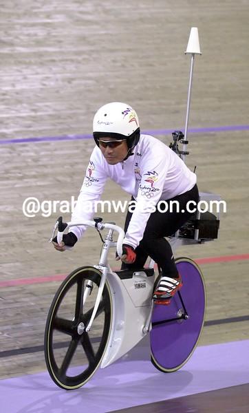 Koichi Nakano controls the Kierin race moto at the 2000 Olympic Games