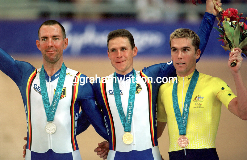 Robert Bartko, Jens Lehmann and Bradley McGee in the 2000 Olympic Games pursuit