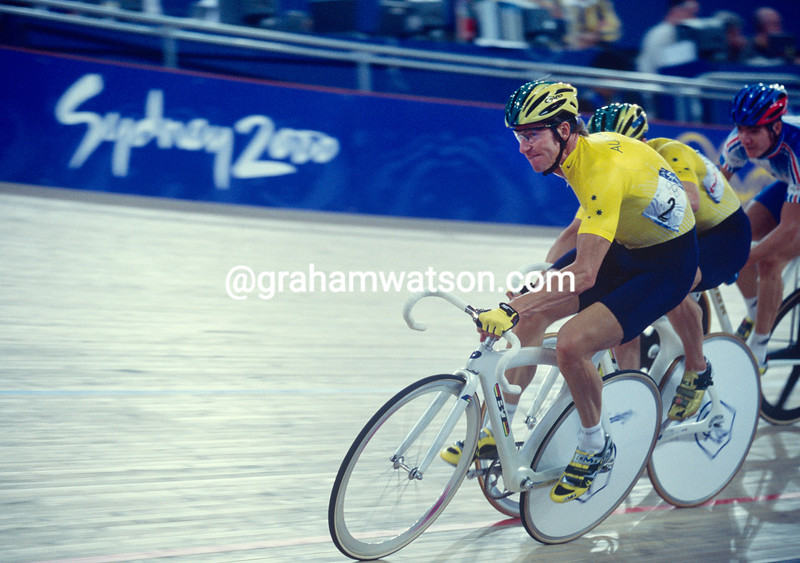 Scott McGrory and Brett Aitken take the Gold medal in the 2000 Olympic Games Madison event