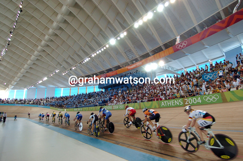 Competitors in the womens points race at the 2004 Olympic Games