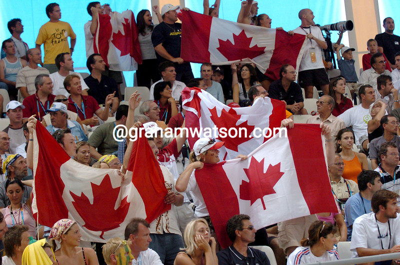 Canadian fans cheer Lori-Anne Muenzer after winning the womens sprint at the 2004 Olympic Games