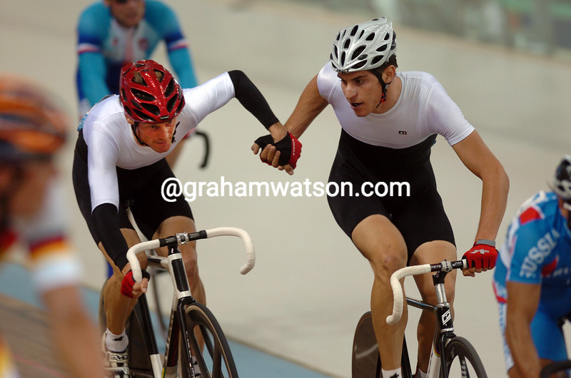 Switzerland's Bruno Risi and Franco Marvulli racing for the bronze medal in the 2004 Olympic Games Madison race