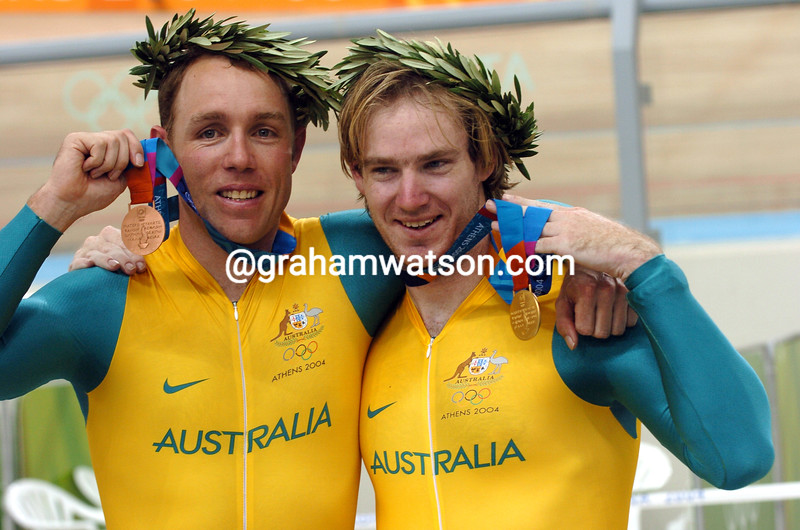 RYAN BAYLEY WITH SHANE KELLY  AFTER WINNING THE 2004 OLYMPIC GAMES KIERIN