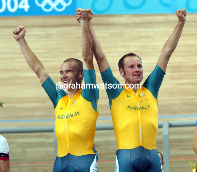 Australia's Graeme Brown and Stuart O'Grady after winning the Gold medal in the 2004 Olympic Games Madison race