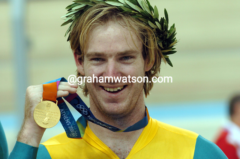 RYAN BAYLEY LEADS AFTER WINNING THE 2004 OLYMPIC GAMES KIERIN