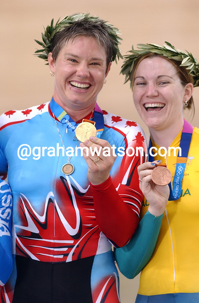Lori-Anne Muenzer and Anna Meares in the womens sprint  at the 2004 Olympic Games