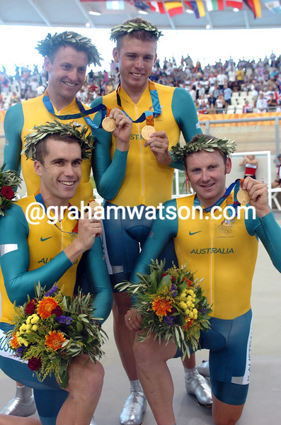 The four Australians pose happily after the podium - (clockwise, left to right) Luke Roberts, Brett Lancaster, Graeme Brown and Bradley McGee