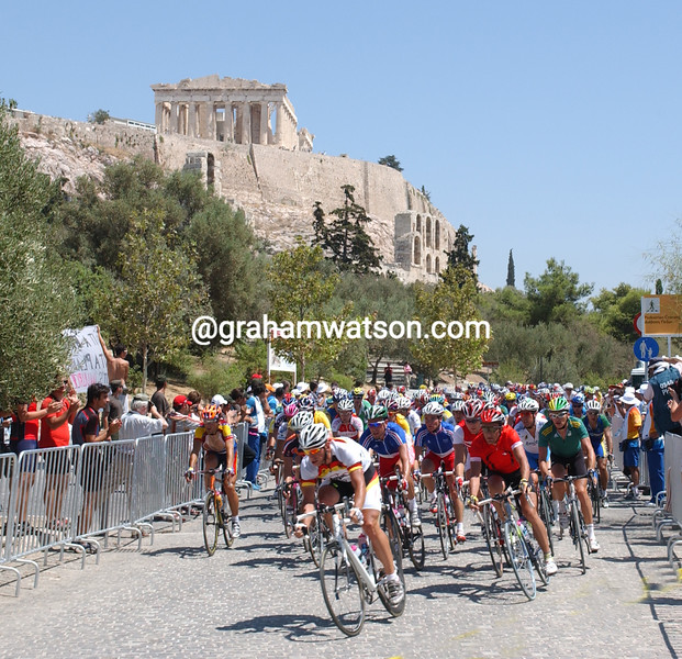 The mens peloton passes beneath the Acropolis in the 2004 Olympic Games road race