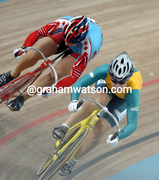 Lori-Anne Muenzer and Anna Meares in the womens sprint final at the 2004 Olympic Games