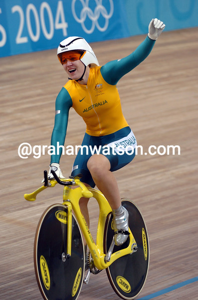 Anna Meares after winning the womens 500-metre TT at the 2004 Olympic Games
