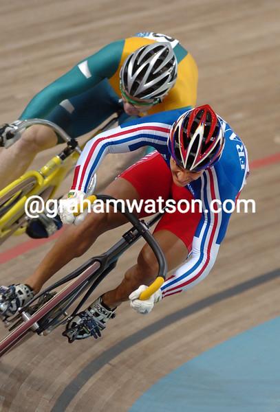 Laurent Gané races against Ryan Bayley in the 2004 Olympic Games Mens Sprint