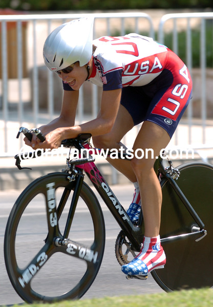 DEIDRE DEMET-BARRY TAKES THE SILVER MEDAL IN THE 2004 OLYMPIC GAMES TIME TRIAL