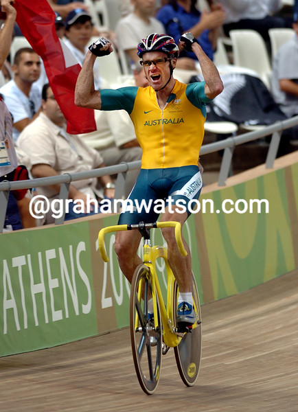 Australia's Stuart O'Grady after winning the Gold medal in the 2004 Olympic Games Madison race with Graeme Brown