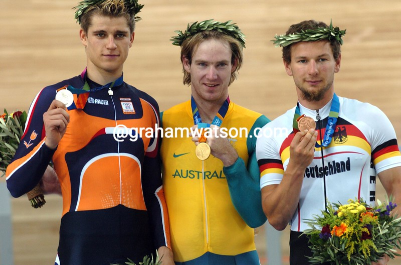 Ryan Bayley with Theo Bos and Rene Wolff in the 2004 Olympic Games Mens Sprint