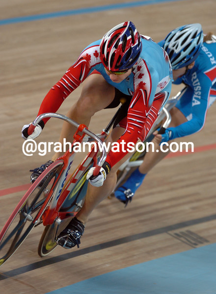 Lori-Anne Muenzer and Tamilla Abassova in the womens sprint at the 2004 Olympic Games