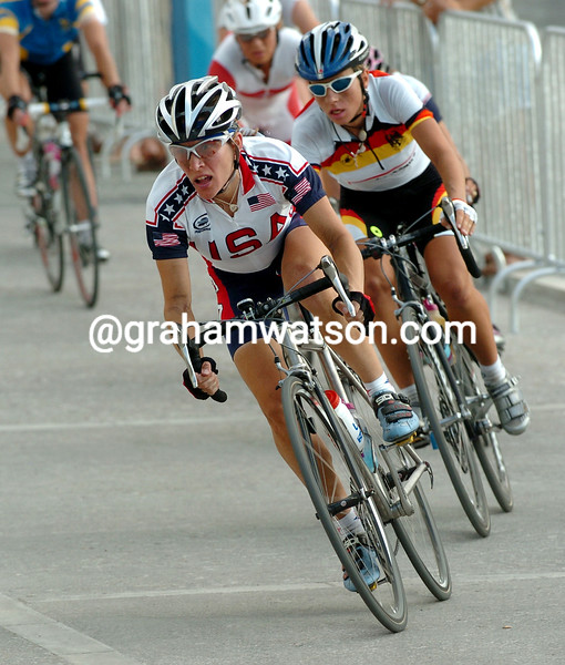 Christine Thorburn escapes in the 2004 Olympic Games road race