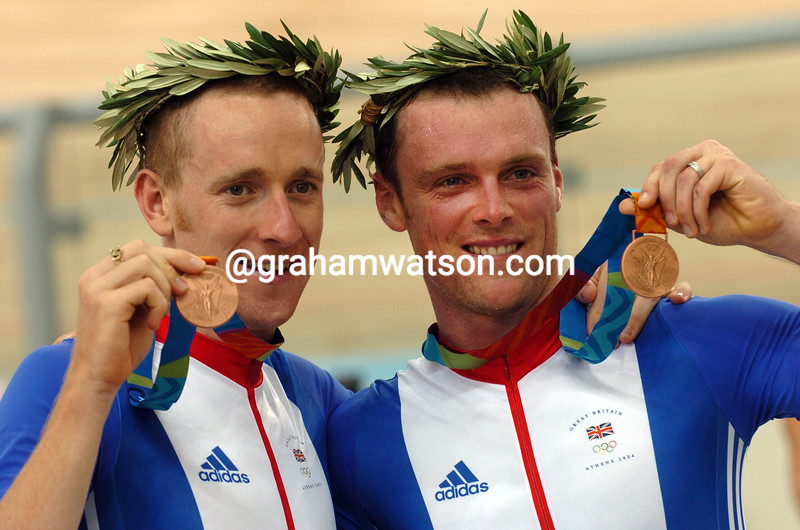 Great Britain's  Bradley Wiggins and Rob Hayles after winning the silver medal in the 2004 Olympic Games Madison race