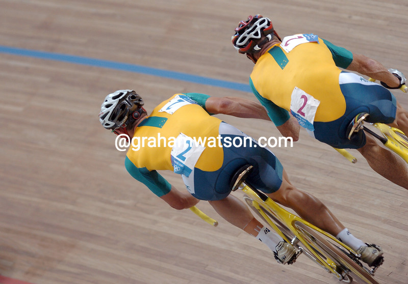Australia's Graeme Brown and Stuart O'Grady chase the Gold medal in the 2004 Olympic Games Madison race