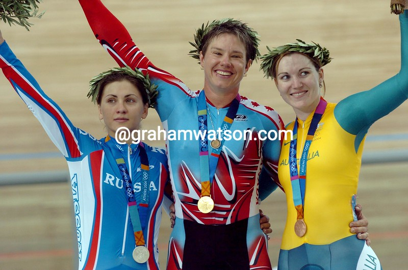 Lori-Anne Muenzer with Anna Meares and Tamilla Abassova after winning the womens sprint at the 2004 Olympic Games