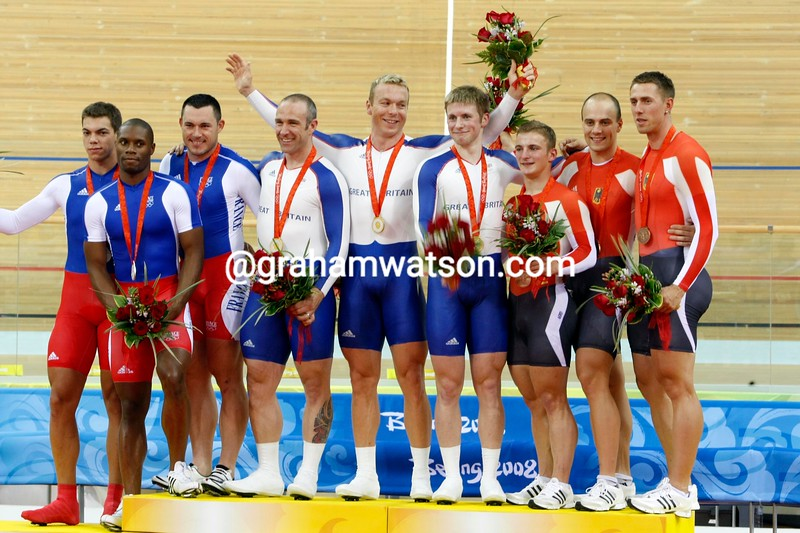 GREAT BRITAIN, FRANCE AND GERMANY ON THE MENS SPRINT PODIUM AT THE 2008 OLYMPIC GAMES