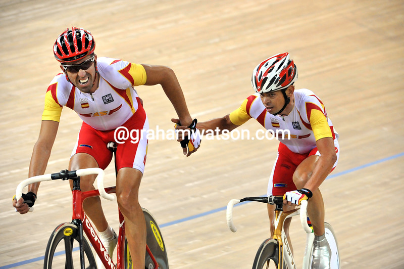 SPAIN'S TONI TAULER AND JOAN LLANERAS AT THE MADISON RACE AT THE 2008 OLYMPIC GAMES
