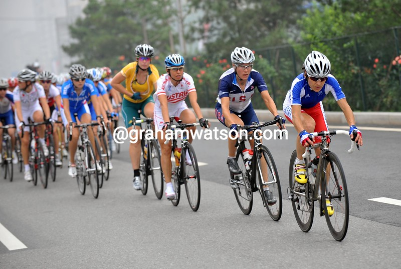 JENNIE LONGO LEADS THE WOMENS ROAD RACE AT THE 2008 OLYMPIC GAMES