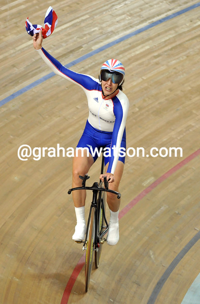 REBECCA ROMERO AFTER WINNING GOLD IN THE PURSUIT AT THE 2008 OLYMPIC GAMES
