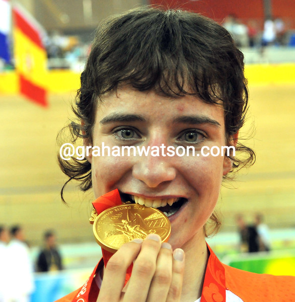 MARIANNE VOS CELEBRATES HER GOLD MEDAL IN THE WOMENS POINTS RACE AT THE 2008 OLYMPIC GAMES