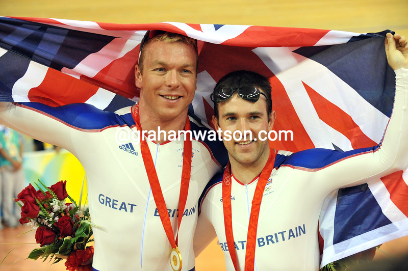CHRIS HOY AND ROSS EDGAR IN THE KIERIN AT THE 2008 OLYMPIC GAMES