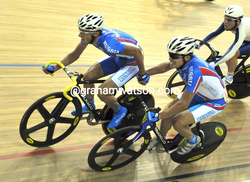 RUSSIA'S IGNATIEV AND MARKOV IN THE MADISON AT THE 2008 OLYMPIC GAMES