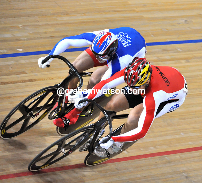 MAX LEVY AND MICKAEL BOURGAIN IN THE MENS SPRINT AT THE 2008 OLYMPIC GAMES