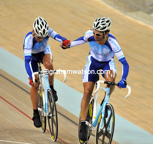 ARGENTINA'S CURUCHET AND PEREZ IN THE MADISON AT THE 2008 OLYMPIC GAMES