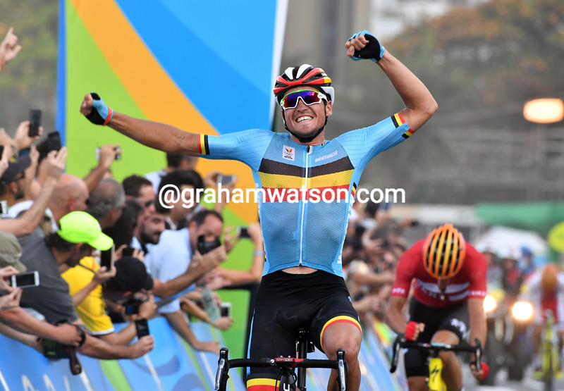 Greg Van Avermaet wins the mens Olympic Games road race from Fuglsang and Majka after catching the Polish rider in the last kilometre