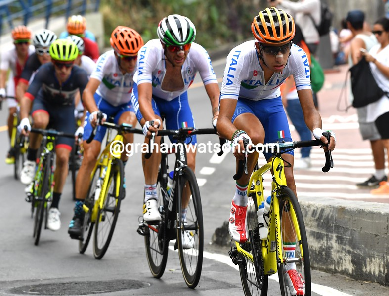 Fabio Aru leads Caruso and Nibali who have joined with Van Avermaet on the climb