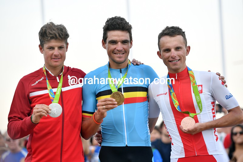 Greg Van Avermaet celebrates with Jacob Fuglsang and Rafa Majka at the 2016 Olympic Games